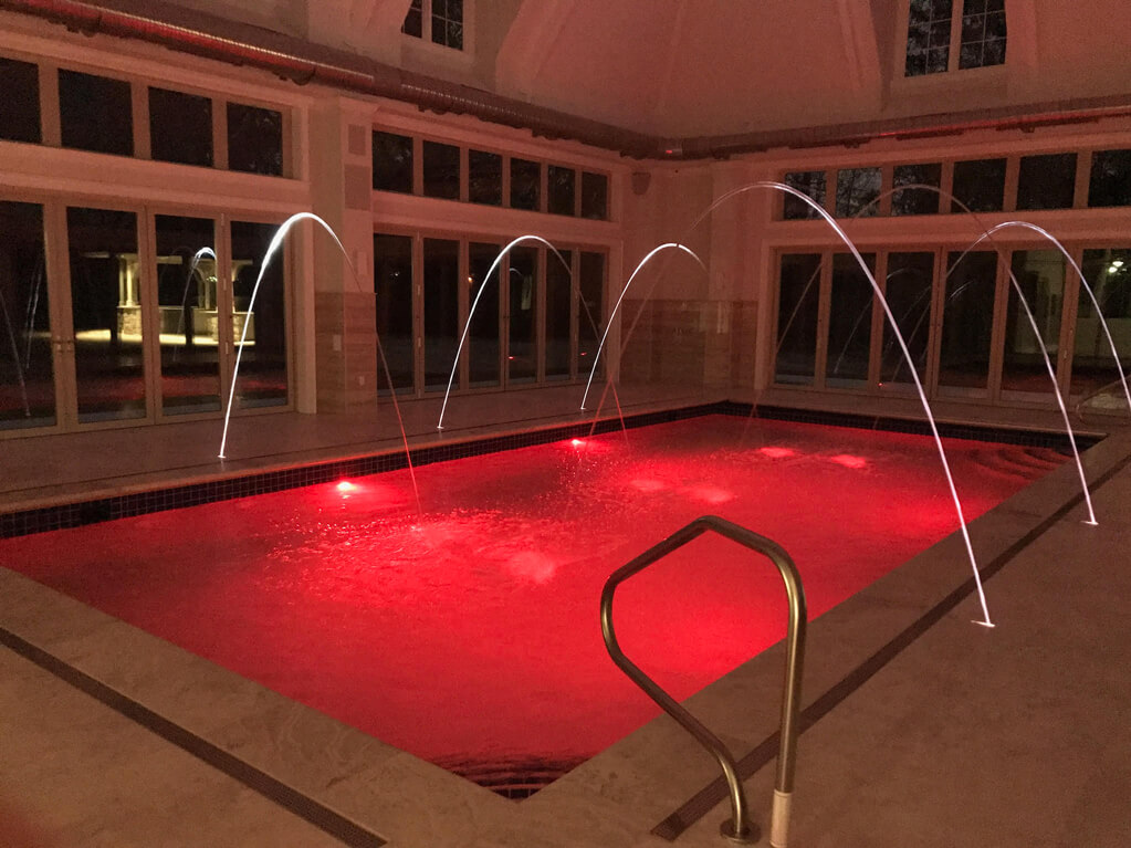 Ennis Custom Homes - Indoor Pool Wing - Exercise Room - Spa Shower - Carmel, Indiana Custom Builder - Indoor Pool with Red Lights