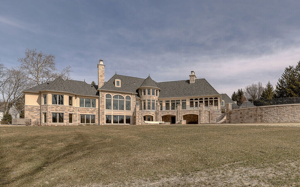 Ennis Custom Homes - Outdoor Home - Luxury Residential Construction in Carmel, IN - Back View of Home Fairly Close