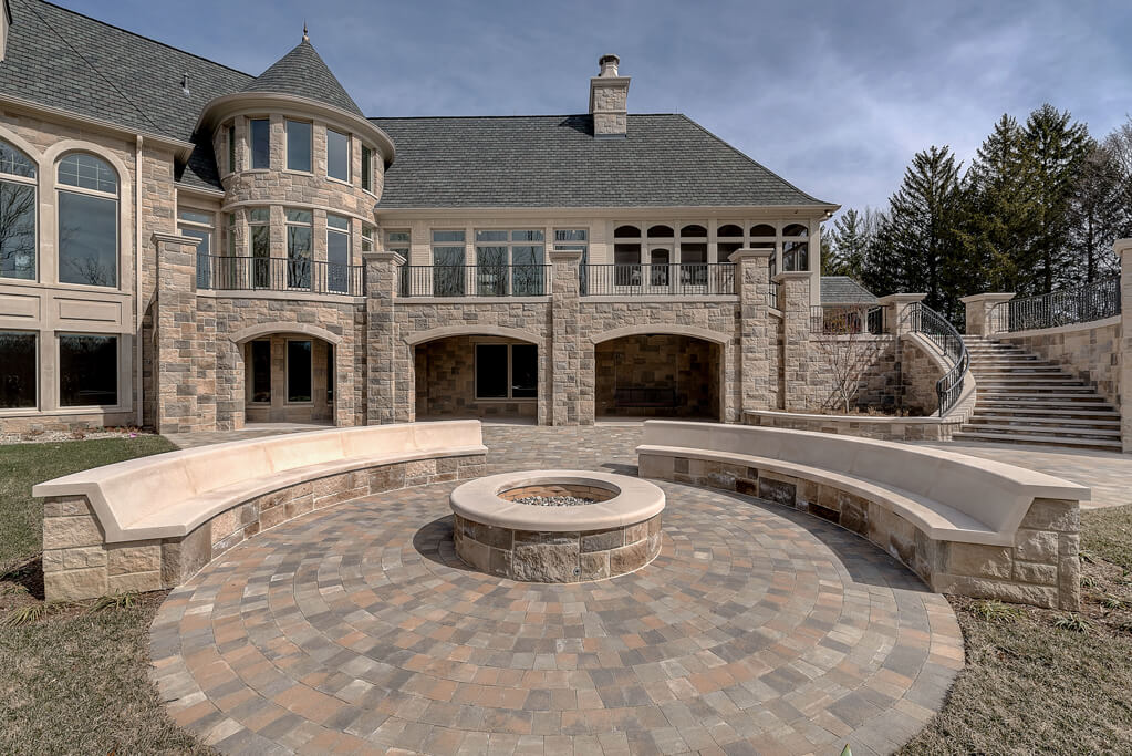 Ennis Custom Homes - Outdoor Living Spaces - Carmel, IN Luxury Residential Construction - Lower Rear Terrace with Firepit